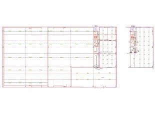 Magazijn/atelier - staalconstructie - wanden : geprofileerde, geïsoleerde metaalplaten - geïsoleerd dak met roofing - dak voorzien van licht